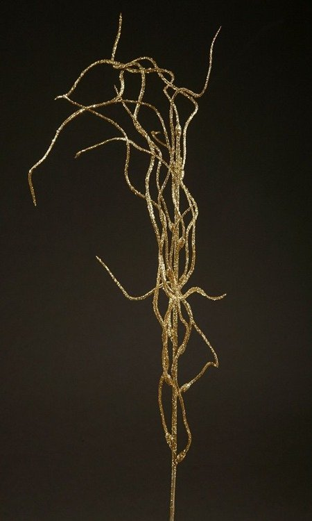 Willow branch with glitter, artificial flower leaf GOLD 42 cm