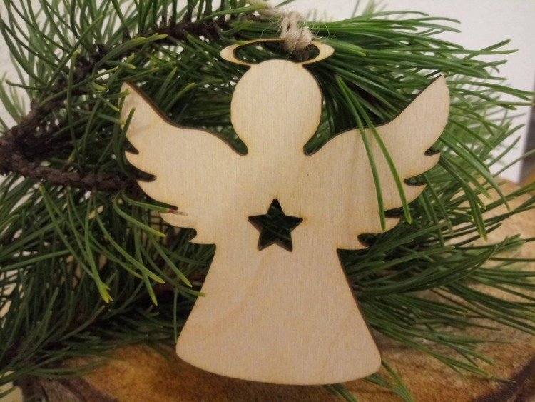Wooden Christmas decorations Wooden angels for the Christmas tree 10 cm-4 pcs / pack