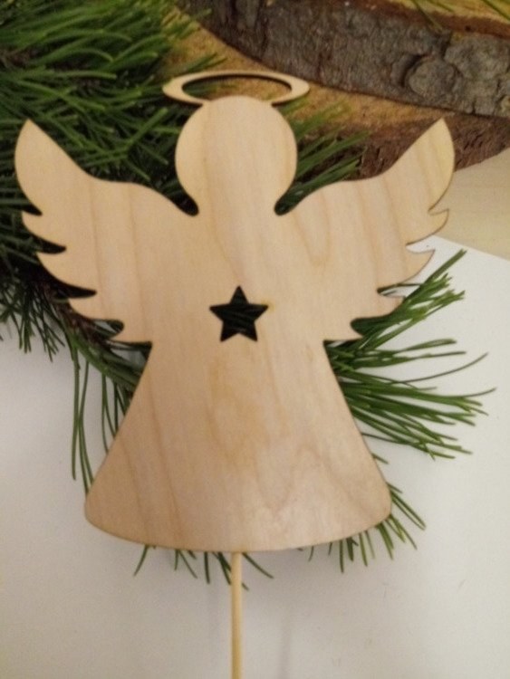 Wooden Christmas decorations. Wooden angels on the peak 20 cm-3 pcs / pack