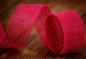 Band aus Jute Jacob Collection dicht (320 g/m2) 5 cm / 5 m Fuchsie