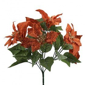 Poinsettie, brokaten, kupferrot-golden