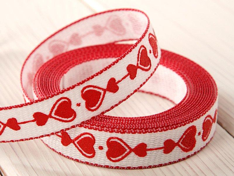 Wstążka Tkana Serca 15 Cm250 Cm Walentynki Dekoracje Z Sercem